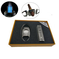 Cigar Lighter Cutter Set Torch with Triple Jet Flame with cigar punch No Gas