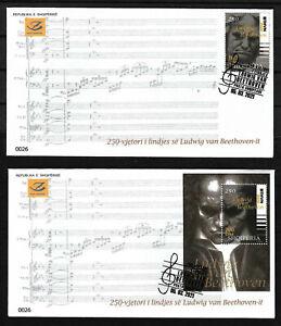 "ALBANIA 2020 "" Ludwing van Beethoven, 250th birthday "" FDC"