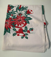 Vintage Christmas Cotton Printed Tablecloth Poinsettia Bells Red Green 53 x 62