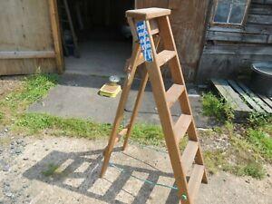 wooden industrial step ladder