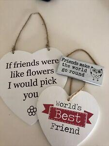 Wooden Best Friends Plaques x 3