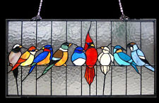 """Stained Glass Window Panel 24"""" Long x 13"""" High Singing Birds Tiffany Style"""