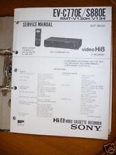 Manual de servicio Sony ev-c770e/s880e video hi8, original
