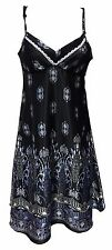 Ladies Womens Sexy Pattern Sleeveless Satin Short Nightdress Nightie Chemise