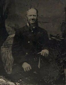 Victorian Tintype Photo Man Beard Seated 1850s-1860s