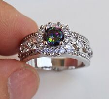 18K White Gold Filled - MYSTICAL Topaz Hollow Flower Rhombus Lady Ring Size 7