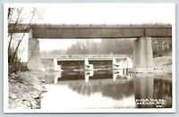 Horicon Wisconsin~Rock River Bridges~1940s Real Photo Postcard