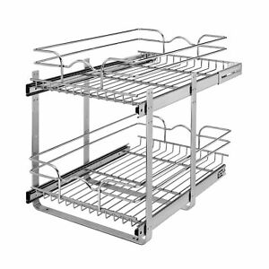 """Rev-A-Shelf 5WB2-1522CR-1 15"""" x 22"""" 2-Tier Cabinet Pull Out Wire Baskets, Chrome"""