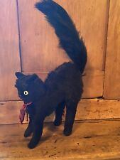 Antique Vintage Straw Fillled Probably Steiff Black Mohair Large Halloween Cat
