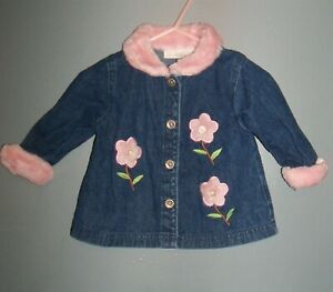 Specialty Baby, Blue with pink trim,  denim coat, age 6 to 9 months