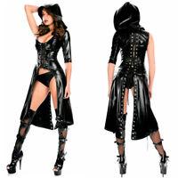 Completo Abito Capotto Simil Latex Mistress Clubwear Dominatrice Giacca Lucido