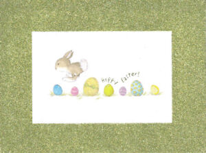 PAPYRUS EASTER CARD NIP (MRP $4.95) GREEN GLITTER CARD (O6)