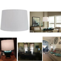 """White Linen Fabric Drum Lamp Shade 11"""" x 17"""" inch Replacement Large Base Ring 1"""