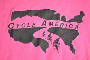 LARGE TRUE VTG 90s CYCLE AMERICA CYCLING RACE Pink Distressed FOTL Made in USA