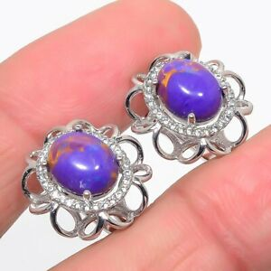 """Purple Copper Turquoise & Cubic Zirconia 925 Sterling Silver Earring 0.7"""" F2515"""