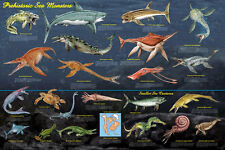 Prehistoric Sea Monsters Educational & Decorative Chart Poster 36 x 24