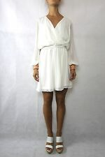 ASOS Ivory Sequin Cuff Wrap Front Dress Size 12