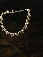 EXQUISITE GOLD COLOURED METAL WITH AMBER COLOURED STONES NECKLACE