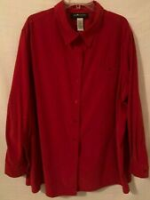 SAG HARBOR Womens Size 24 W Cranberry Red Long Sleeve Button Down Faux Suede