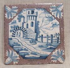 """Antique 18th Century 5"""" Delft Tile with Castle"""