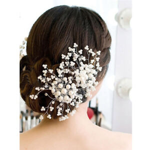 Flower Wedding Hair Pins Bridesmaid Crystal Diamante Pearls Bridal Clips Gryu