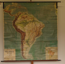 Schulwandkarte Südamerika South America physisch 189x203cm~1912 vintage wall map