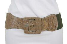 Women Beige Elastic Belt Fashion Hip High Waist Square Buckle Plus Size M L XL