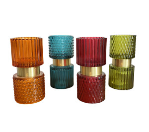 Glass T-light Holders 4x Colour Choices Red-Blue-Orange-Green With Free Candles