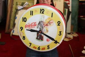 """Rare Vintage 1950's Coca Cola Sprite Boy Soda Pop 17"""" Clock Sign RUNS"""