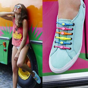 Elastische Schnürsenkel Silikon Gummi mit Schnellverschluss Sneaker Schuhe Sport