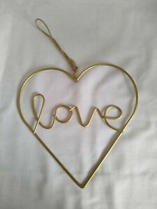 Love Heart Sign Wire Wall Art Rustic Home Decor Wall Hanging Valentine's Gift