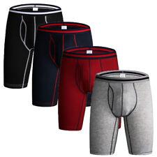 4pcs Soft Men Underwear Boxers Shorts Trunks Sport Mid-waist Long Leg Panties UK