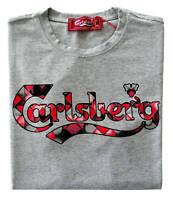 T-shirt Maglia Maniche Corte Carlsberg Uomo Men 100% cotone made in Italy grigia