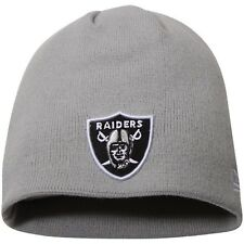Oakland Raiders Gray Skull Cap - NFL Cuffless Beanie Knit Hat