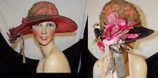 New listing Orig Vtg Teens 20s Gold Lame Lace & Ribbon Velvet Deco Floral Trim Dress Hat