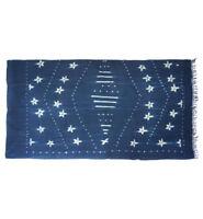 Vintage stitch dyed Mossi indigo cloth with stars from Burkina Faso M196