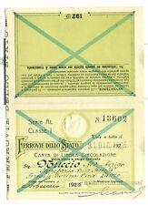 TESSERA - Carta di Circolazione FERROVIE DELLO STATO 1925