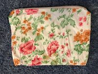 "Make Up Bag Soft 7"" Floral design White orange Green Pink White Zip with Pull"