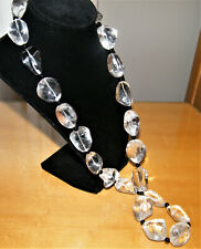 Vintage 430g Clear Natural CHUNKY ROCK CRYSTAL Quartz NECKLACE Onyx Spacer Beads