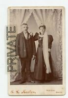 Cabinet Photo-Weir City, Kansas -Bride, Long Side Veil & Groom Standing