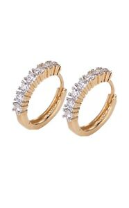9ct 9K White & Yellow  Gold Filled 15mm Earrings Birthday Any Party +Gift Pouch