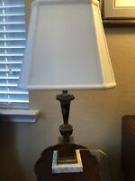 Vintage Heavy Brass Lamp with Marble Base (New Wiring and Shade)