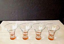"""VTG Set of 4 """"Bacardi O"""" Flared Rim Etched Lowball 5 oz Cocktail Orange Glasses"""