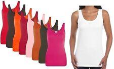 Womens Vests Tank Top 100% Cotton Vest Ladies Vest Plain T Shirt Vest New