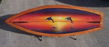 Dolphin Surfboard Wall Art Hand painted handcrafted wooden porpoise fish mamal