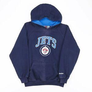 REEBOK NHL Winnipeg Jets Blue Sports Round Neck Hoodie Boys L