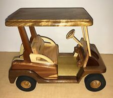 Wooden Miniature Golf Cart (B) in Cherry & Oak Hand Carved by Kentucky Artisan