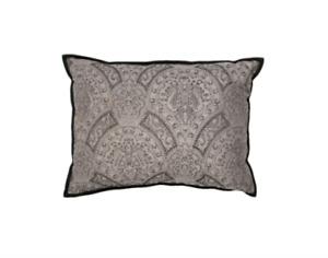 New RALPH LAUREN HOME Doheny Grey Paisley Wool Standard Pillow Sham Suede $350