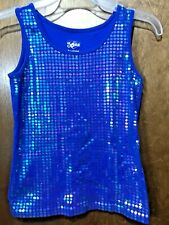 Justice Royal Blue Iridescent Tank Top Easter Size 12 ~C