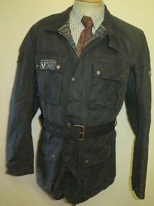 "Belstaff Trialmaster Wax Cotton Motorcycle Biker Jacket L 44"" Euro 56 Black"